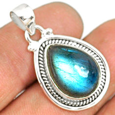 925 sterling silver 9.88cts natural blue labradorite pear pendant jewelry r77535