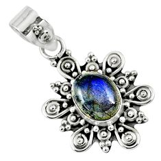 925 sterling silver 3.45cts natural blue labradorite pendant jewelry r57656