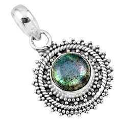 925 sterling silver 3.29cts natural blue labradorite pendant jewelry r57680