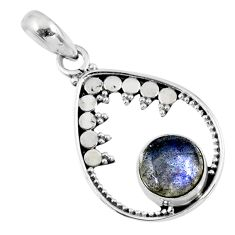 925 sterling silver 3.03cts natural blue labradorite pendant jewelry r57698
