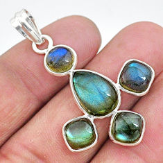 925 sterling silver 11.68cts natural blue labradorite pendant jewelry t10708