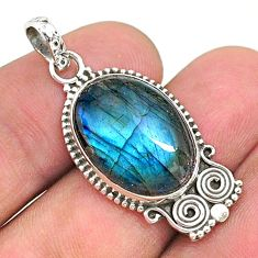 925 sterling silver 13.15cts natural blue labradorite pendant jewelry t35920
