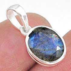 925 sterling silver 4.16cts natural blue labradorite pendant jewelry t9120