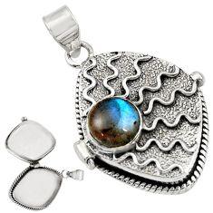 925 sterling silver 4.50cts natural blue labradorite poison box pendant r30628