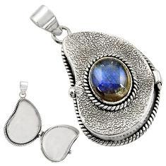 925 sterling silver 5.30cts natural blue labradorite poison box pendant r30655