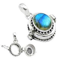 925 sterling silver 5.02cts natural blue labradorite poison box pendant t52716