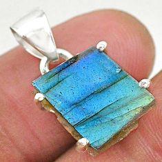 925 sterling silver 8.53cts natural blue labradorite slice fancy pendant r95510