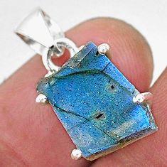 925 sterling silver 8.53cts natural blue labradorite slice fancy pendant r95517