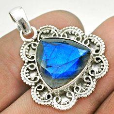 925 sterling silver 11.13cts natural blue labradorite trillion pendant t53336