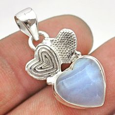 925 sterling silver 6.27cts natural blue lace agate couple hearts pendant t55344