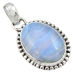 925 sterling silver 14.23cts natural blue lace agate oval pendant jewelry r26520