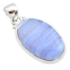 925 sterling silver 13.62cts natural blue lace agate oval pendant jewelry t22538
