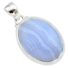 925 sterling silver 14.27cts natural blue lace agate oval pendant jewelry t22555