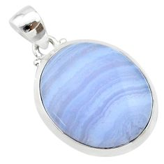 925 sterling silver 15.31cts natural blue lace agate oval pendant jewelry t22559