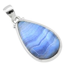 925 sterling silver 13.05cts natural blue lace agate pear pendant jewelry t22483