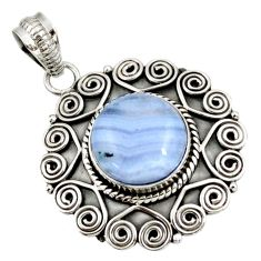 Clearance Sale- 925 sterling silver 6.62cts natural blue lace agate pendant jewelry d39139