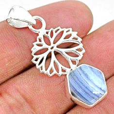 925 sterling silver 4.52cts natural blue lace agate pendant jewelry r96904