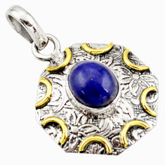 925 sterling silver 4.52cts natural blue lapis lazuli 14k gold pendant r37109