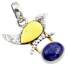 925 sterling silver 4.42cts natural blue lapis lazuli 14k gold pendant r37128