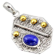 925 sterling silver 3.06cts natural blue lapis lazuli 14k gold pendant r37172