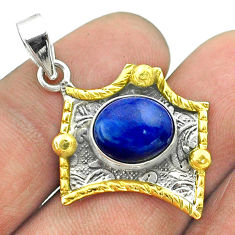925 sterling silver 5.16cts natural blue lapis lazuli 14k gold pendant t55687