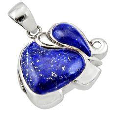 925 sterling silver 8.05cts natural blue lapis lazuli elephant pendant c10000