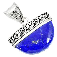 925 sterling silver 14.88cts natural blue lapis lazuli fancy pendant r86233