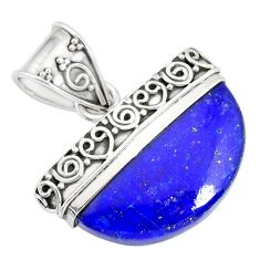 925 sterling silver 15.34cts natural blue lapis lazuli fancy pendant r86239