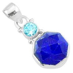 925 sterling silver 8.73cts natural blue lapis lazuli fancy topaz pendant r73127