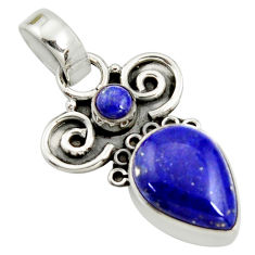 925 sterling silver 7.17cts natural blue lapis lazuli pendant jewelry r24964