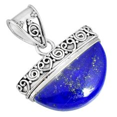 925 sterling silver 14.40cts natural blue lapis lazuli handmade pendant r85048
