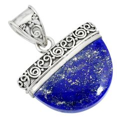 925 sterling silver 15.27cts natural blue lapis lazuli handmade pendant r86236