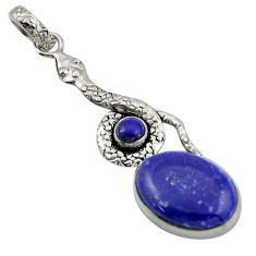 925 sterling silver 14.41cts natural blue lapis lazuli snake pendant d47264