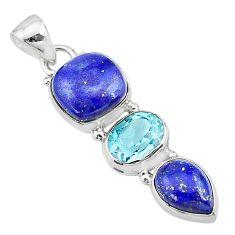 925 sterling silver 10.32cts natural blue lapis lazuli topaz pendant t18783