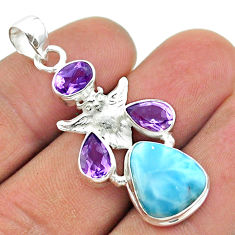 925 sterling silver 11.02cts natural blue larimar amethyst owl pendant t56600