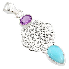 925 sterling silver 5.63cts natural blue larimar amethyst pendant jewelry r78371