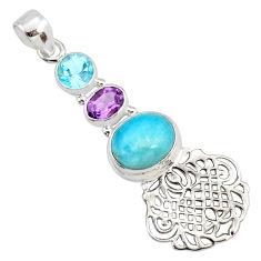 925 sterling silver 7.51cts natural blue larimar amethyst topaz pendant r78374