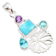 925 sterling silver 7.11cts natural blue larimar amethyst topaz pendant r78394
