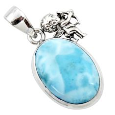 925 sterling silver 15.02cts natural blue larimar angel pendant jewelry r50332