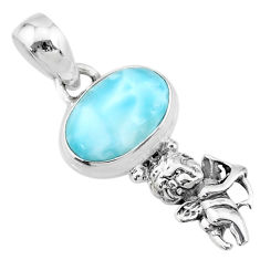 925 sterling silver 3.83cts natural blue larimar angel pendant jewelry r72354