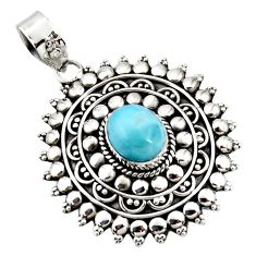 925 sterling silver 4.45cts natural blue larimar boho pendant jewelry r46970
