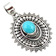 925 sterling silver 3.95cts natural blue larimar boho pendant jewelry r46979
