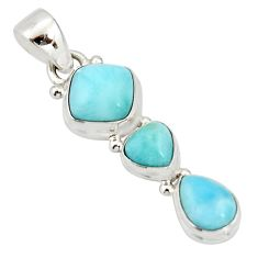 925 sterling silver 5.23cts natural blue larimar cushion pendant jewelry r20639