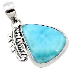 925 sterling silver 14.72cts natural blue larimar deltoid leaf pendant r50335