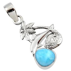 925 sterling silver 4.02cts natural blue larimar dolphin pendant jewelry r48328