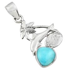 925 sterling silver 4.06cts natural blue larimar dolphin pendant jewelry r48360