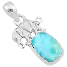925 sterling silver 3.64cts natural blue larimar elephant pendant jewelry r72346