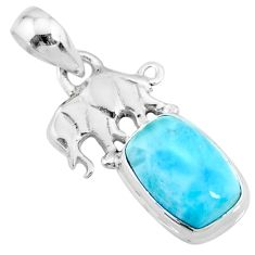 925 sterling silver 3.89cts natural blue larimar elephant pendant jewelry r72384