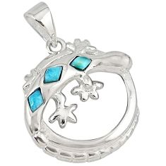 925 sterling silver natural blue larimar fancy lizard pendant a32742 c14059