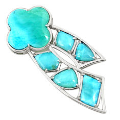925 sterling silver natural blue larimar fancy pendant jewelry a76551 c13971